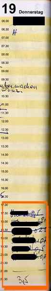 Dienstkalender der Pflegehelferin vom 19.1.2006