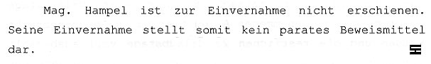 Faksimile aus dem Gerichtsprotokoll vom 30.10.06 vom Landesgericht Korneuburg