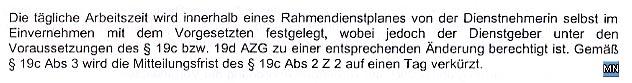 Faksimile aus der Betriebsvereinbarung, Bestandteil des Kollektivvertrags vom NÖ HILFSWERK