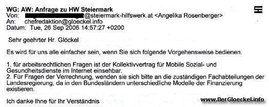 Faksimile der Stellungnahme der Landesgeschäftsstelle Steiermark vom HILFSWERK