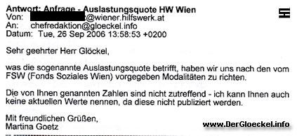 Faksimile der Stellungnahme vom Wiener Hilfswerk