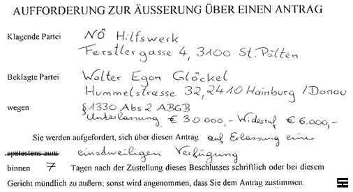Die unabhängige Gerichtsbarkeit fordert den Medieninhaber Walter Egon Glöckel zur Äusserung auf
