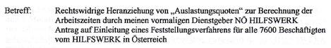 Faksimile aus dem Brief an das Präsidium der NÖ ARBEITERKAMMER der Geschädigten