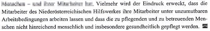 Faksimile aus der gegen das Nachrichtenmagazin DER GLÖCKEL eingebrachten Klage vom Hilfswerk Niederösterreich