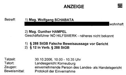 Faksimile der Strafanzeige, die Walter Egon Glöckel gegen Gunther Hampel und Wolfgang Schabata vom NÖ HILFSWERK wegen falscher Zeugenaussage vor Gericht einbrachte
