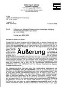 """Faksimile der Äußerung zum Antrag auf """"einstweilige Verfügung"""" von Walter Egon Glöckel"""