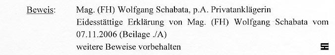 Faksimile aus der Klageschrift vom NÖ HILFSWERK
