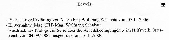 Faksimile aus der Klageschrift HILFSWERK gegen Walter Egon Glöckel
