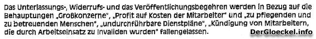 Faksimile aus der abgeänderten Klage von SUPPAN - NÖ HILFSWERK gegen Journalist Walter Egon GLÖCKEL
