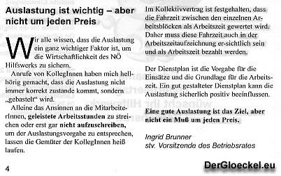 Faksimile des Artikels aus der Zeitung des Betriebsrates vom NÖ HILFSWERK