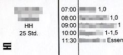 Dienstplan der HEIMHELFERIN für den ausgewerteten Arbeitstag beim NÖ HILFSWERK