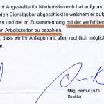 Faksimile aus dem Brief des Präsidenten der NÖ ARBEITERKAMMER, Josef STAUDINGER