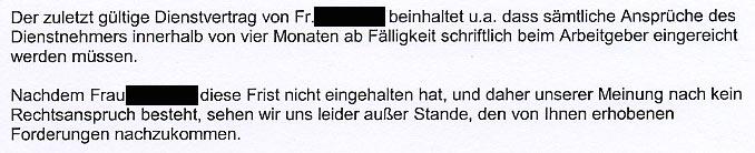 Faksimile aus dem Brief von Mag. Wolfgang SCHABATA an die AK NÖ