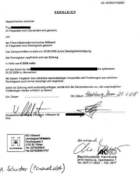 Das NÖ HILFSWERK vermeidet einen weiteren peinlichen Prozeß vor dem Arbeits- & Sozialgericht durch Annahme des Vergleiches der ehemaligen HEIMHELFERIN