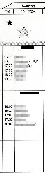 Abenddienst - Dienstplan